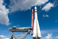 A rocket at the launch site. RUSSIA, MOSCOW - SEPTEMBER 6, 2016: the Layout of the world`s first carrier rocket Vostok, deliver a man into space, was installed Stock Photo