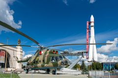Exhibition of achievements of national economy VDNH. RUSSIA, MOSCOW - SEPTEMBER 6, 2016: MI-8T helicopters at the Exhibition of achievements of national economy Stock Photography