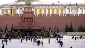 Russia, Moscow-September, 2019: Square with tourists on background of red fortress of Moscow Kremlin. Action. Russian stock video