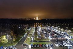 Russia. Moscow-September 2017. Moscow state University at night. Moscow state University at night Royalty Free Stock Photography