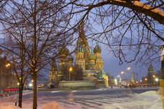 Russia. Moscow. St. Basil's Cathedral. Morning in the Red Square Stock Photography