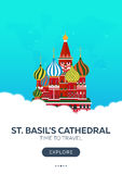 Russia. Moscow. St. Basil`s Cathedral. Time to travel. Travel poster. Vector flat illustration. Stock Photo