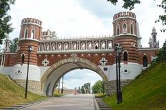 Russia Moscow Tsaritsyno Figured bridge 1776-1778 Architect Bazhenov. The Tsaritsyno Figured bridge 1776-1778 Architect Bazhenov Russia Moscow Heat stock images