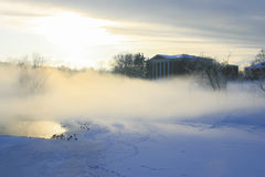 Russia, Moscow, Tsaritsyno Park. The winter, the sunset, the mis Stock Images