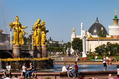 Russia, Moscow, VDNH - August 25, 2018, Space Pavilion, rocket, Friendship of the Fountain fountain, the central alley of the All-. Russian Exhibition Center stock image