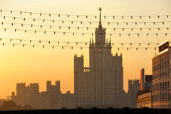 Russia. Moscow. View on classical Stalin's tower. Building on Kotelnicheskaya quay at a sunrise Royalty Free Stock Photo