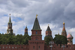 Russia, Moscow, view on Kremlin on against dramatic cloudy sky. Royalty Free Stock Image