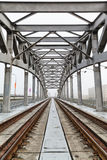 Russia, Moscow, view of Luzhnetsky railway Bridge Royalty Free Stock Images