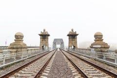 Russia, Moscow, view of Luzhnetsky railway Bridge Royalty Free Stock Image