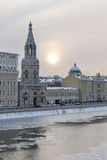 Russia. Moscow. View on Sophia quay and The Church. Of St. Sophia Bell-Tower across Moskva river in winter royalty free stock photography