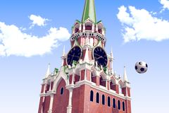 3d rendering the soccer ball near Moscow Kremlin. Russia, Moscow, 2018 year.3d rendering the soccer ball fly near Moscow Kremlin. Useful for any graphics design Royalty Free Stock Photo