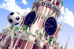 3d rendering the soccer ball near Moscow Kremlin. Russia, Moscow, 2018 year.3d rendering the soccer ball fly near Moscow Kremlin. Useful for any graphics design Stock Photography