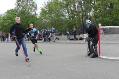 Russia, Murmansk-June 24, 2018: celebration of youth day in Russia, youth plays hockey. Celebration of youth day in Russia, youth plays hockey stock images