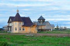 Russia, Murmansk region, Tersky district. Coast of the Kola Peninsula on the White sea. The Village Of Varzuga. Ancient Uspensky c Stock Photography