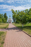 Russia. Murom Transfiguration Monastery. Walkway to the chapel Stock Photo