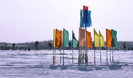 Russia, Nadym. Festive flags on the background of the Northern n Stock Images