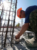 RUSSIA, NADYM - JUNE 6, 2011: Unknown man, a construction worker Royalty Free Stock Photos
