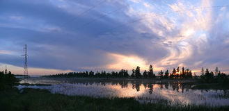 Russia, Nadym. Northern landscape of nature. The sunset over the Stock Images