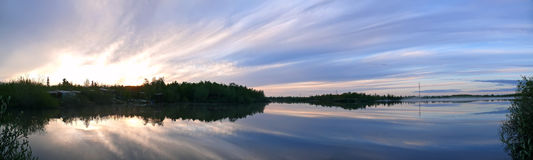 Russia, Nadym. Northern landscape of nature. The sunset over the Royalty Free Stock Photos