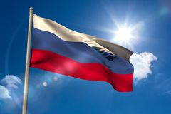 Russia national flag on flagpole Royalty Free Stock Images