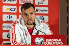 Russia national football team striker Artem Dzyuba at a press conference ahead of UEFA Euro 2020 qualification match Belgium vs. Brussels, Belgium - March 20 royalty free stock photos
