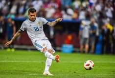 Russia national football team striker Fedor Smolov performing penalty kick. Moscow, Russia - July 1, 2018 Russia national football team striker Fedor Smolov royalty free stock photography