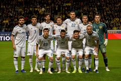 Russia national football team before UEFA Nations League match Sweden vs Russia. Stockholm, Sweden - November 20, 2018. Russia national football team before UEFA stock image