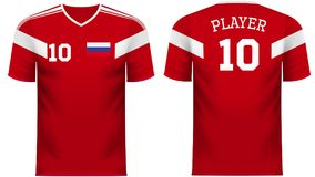 Russia Fan sports tee shirt in generic country colors. Russia national soccer team shirt in generic country colors for fan apparel royalty free illustration