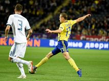 Russia national team defender Roman Neustaedter and Sweden national team midfielder Viktor Claesson. Solna, Sweden - November 20, 2018. Russia national team stock images