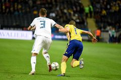 Russia national team defender Roman Neustaedter and Sweden national team midfielder Viktor Claesson. Solna, Sweden - November 20, 2018. Russia national team stock photography