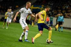 Russia national team defender Vladislav Ignatyev and Sweden national team striker Marcus Berg. Solna, Sweden - November 20, 2018. Russia national team defender royalty free stock photography