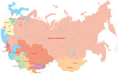 Russia and nearest countrys map Royalty Free Stock Photography