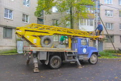 Russia Nikol autumn 2016. car aerial platform ready to work waiting for workers brigade Stock Photography