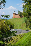 RUSSIA, NIZHNY NOVGOROD: Ancient tower on the green hills Royalty Free Stock Photo