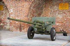 RUSSIA, NIZHNY NOVGOROD - AUG 06, 2014: Anti-57-mm gun ZIS-2 Royalty Free Stock Photos