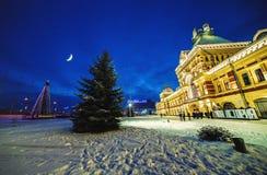 Exhibition House, ensemble of the Nizhny Novgorod Fair. RUSSIA, NIZHNY NOVGOROD - December 23, 2017: Exhibition House, ensemble of the Nizhny Novgorod Fair, was stock photos
