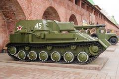RUSSIA - NIZHNY NOVGOROD. 4 MAY: self-propelled and artillery SU Stock Photography