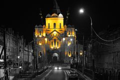 Russia, Nizhny Novgorod, night photo of the church of Alexander Nevsky stock images
