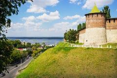 RUSSIA, NIZHNY NOVGOROD: Powerful round tower on t Royalty Free Stock Photography