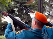 Russia. Noginsk. September 2, 2017 EMERCOM of Russia makes simultaneous salvo shots Stock Images