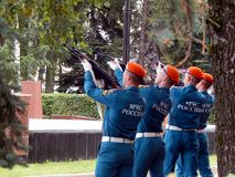 Russia. Noginsk. September 2, 2017 EMERCOM of Russia makes simultaneous salvo shots Stock Photo