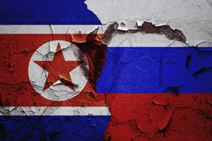 Russia and North Korea relations between countries. The abstract background of the relationship royalty free stock photo