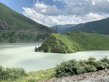 Russia. North Ossetia - Alania. Reservoir of Zaramag HPP in Kassar gorge.  royalty free stock image