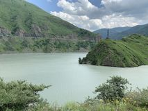 Russia. North Ossetia - Alania. Reservoir of Zaramag HPP in Kassar gorge.  stock images