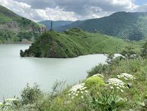 Russia. North Ossetia - Alania. Reservoir of Zaramag HPP in Kassar gorge.  royalty free stock images