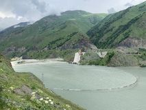Russia. North Ossetia - Alania. Reservoir of Zaramag HPP in Kassar gorge.  stock photo