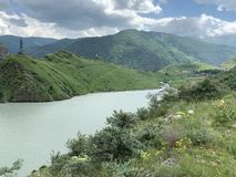 Russia. North Ossetia - Alania. Reservoir of Zaramag HPP in Kassar gorge.  royalty free stock photography