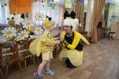 Free Russia Novodvinsk May 2019 - Kindergarten 24 - A Theme Matinee In Kindergarten, Where Everyone Is Dressed In Bee Or Butterfly Royalty Free Stock Photos - 157433158