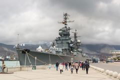 The cruiser Mikhail Kutuzov, a branch of the Museum of the Navy, p. World of Warships on an overcast autumn day Olympic parapherna Stock Photos
