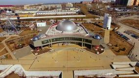 Russia, Novosibirsk - April 2019, aerial shoot planetarium.